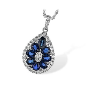 Sapphire and Diamond Teardrop Pendant