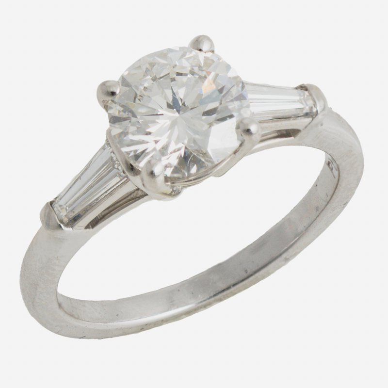 King's Bridal Plat Diamond Ring 1.51ct H VS2 w/Tapered Baguetts