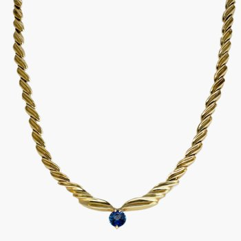14kt Yel Gold Prev Enjoyed Sapphire Necklace