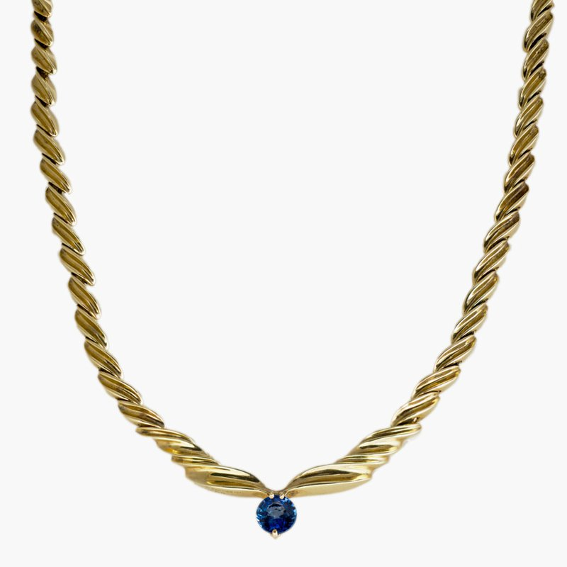 King's Estate 14kt Yel Gold Prev Enjoyed Sapphire Necklace