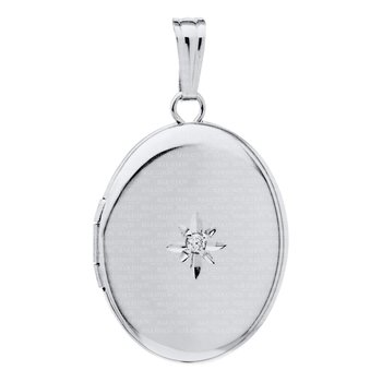 "Sterling Oval Heart Locket w/Diamond on 18"" Chain"