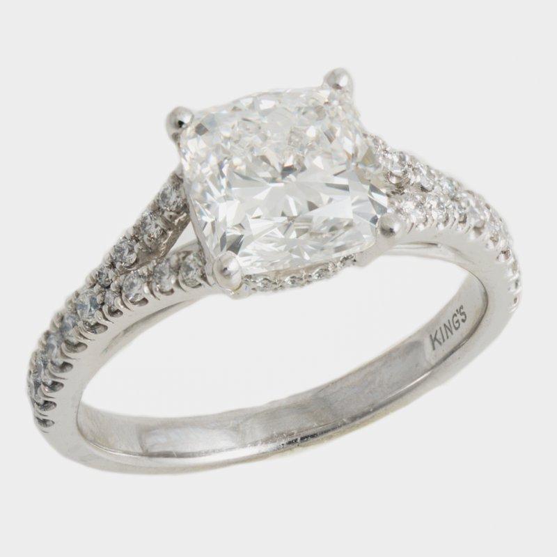 King's Bridal Custom Split-Shank Plat Mounting 2.50ct Cushion
