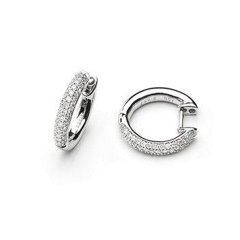 White Gold Diamond Hoop Earrings Huggies