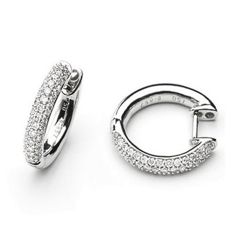 White Gold Diamond Hoop Earrings Huggies