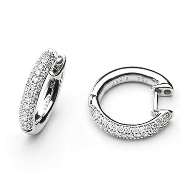 King's White Gold Diamond Hoop Earrings Huggies