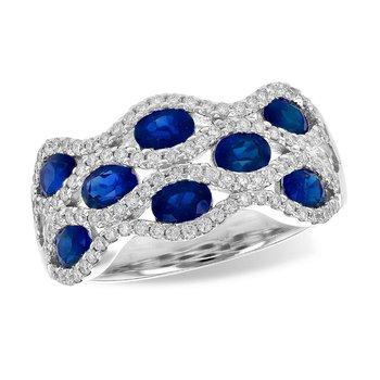 Sapphire & Diamond Wide Lattice Band
