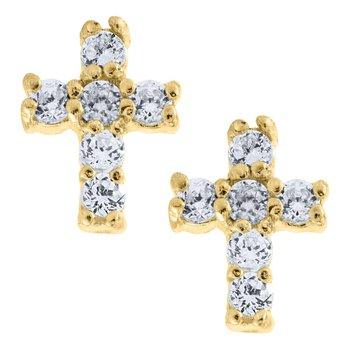 14kt Yel Cross Earrings w/CZs