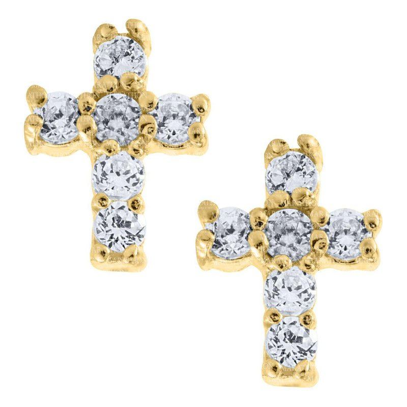 King's Children 14kt Yel Cross Earrings w/CZs