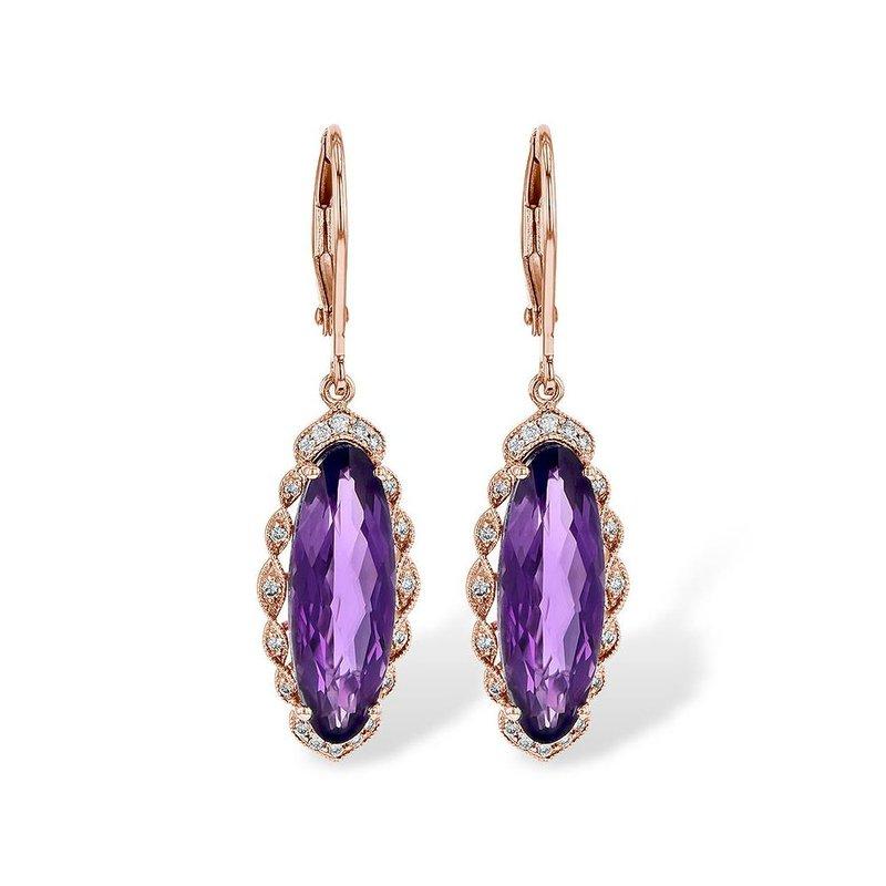 King's Amethyst Diamond Dangle Earrings