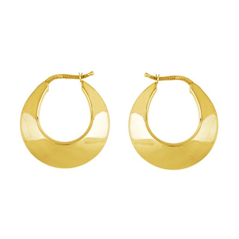 King's Yel Gold Wide Hoop Earrings