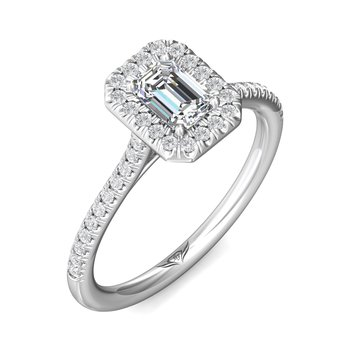 14kt Wh Emerald Cut Diamond with Halo #030403