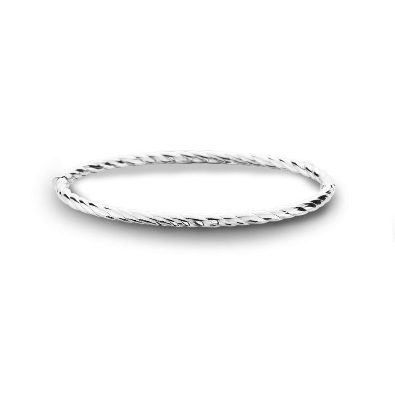 King's 14kt White Gold Bangle Bracelet Rope Style