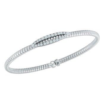 18kt Cuff Bracelet w/24 Diams in Diamond Bar =.35tw