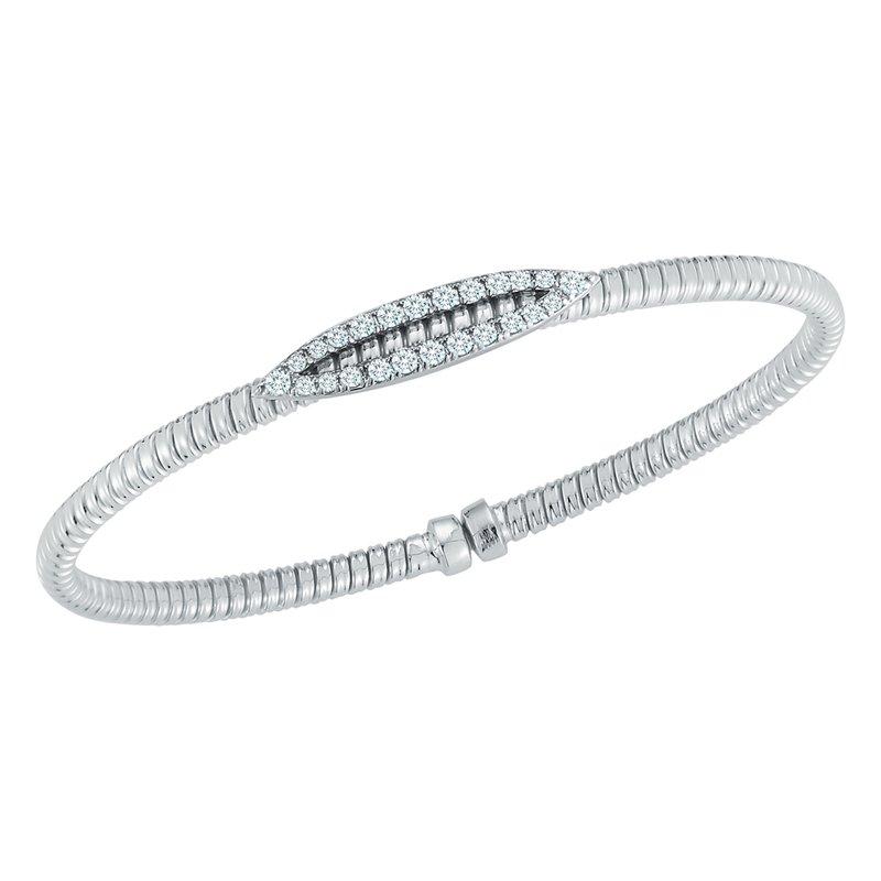 King's 18kt Cuff Bracelet w/24 Diams in Diamond Bar =.35tw