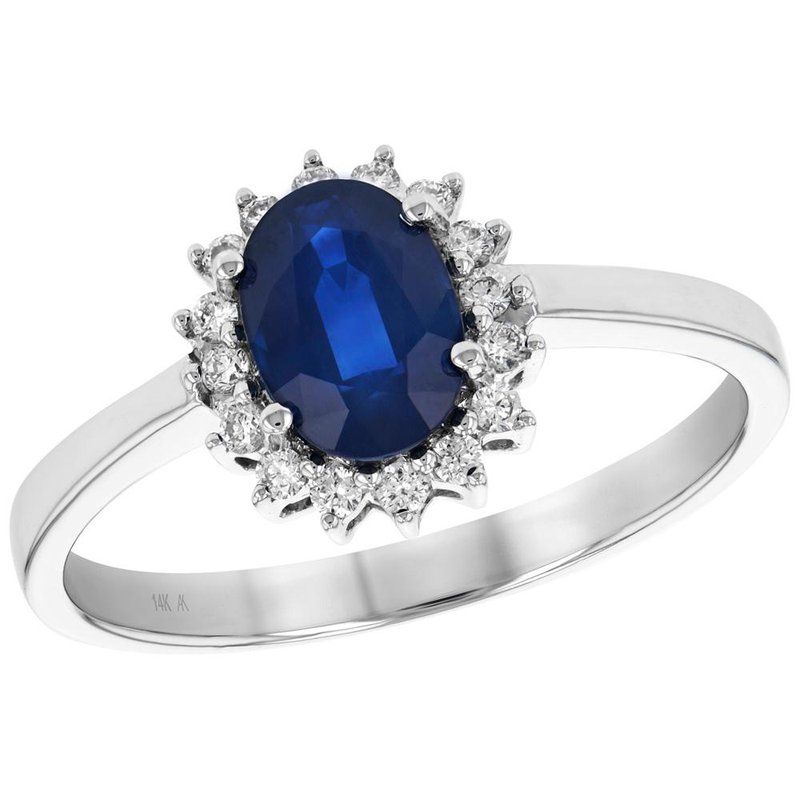 King's Oval Sapphire with Diamond Halo Ring