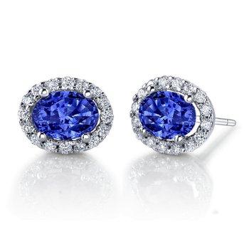 Oval Sapphire Earrings w/Diamonds