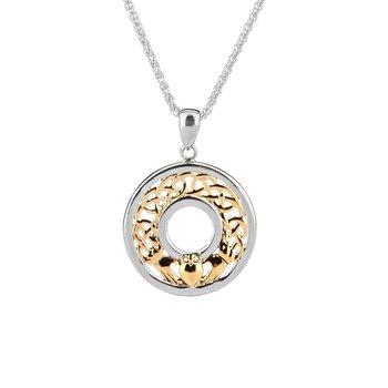 """Claddagh"" Sterling & 10kt Gold Pendant"
