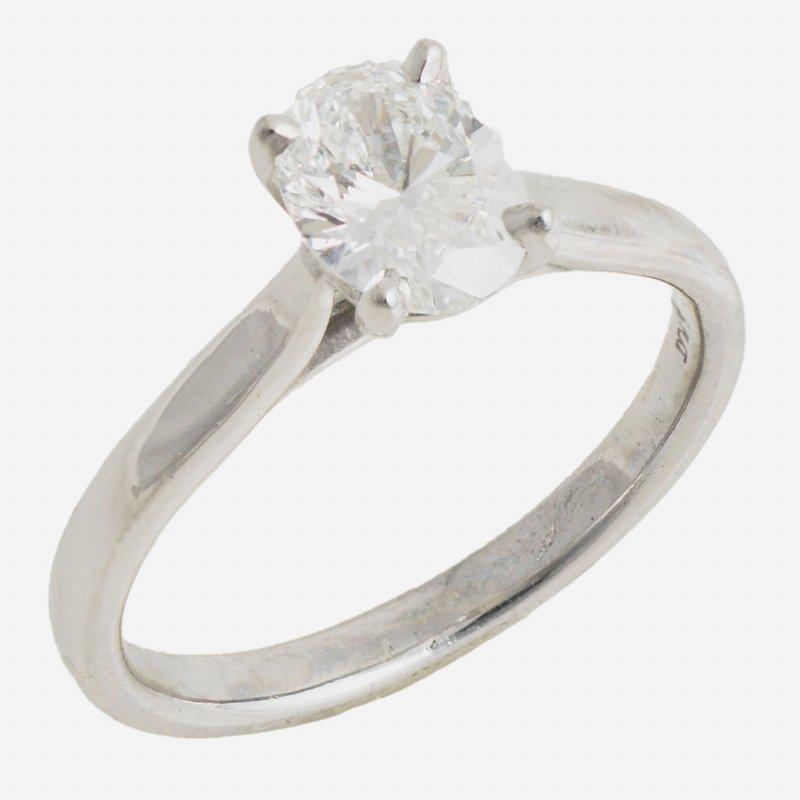 King's Bridal Plat Oval Diamond 1.01ct G VVS2 Solitaire Ring
