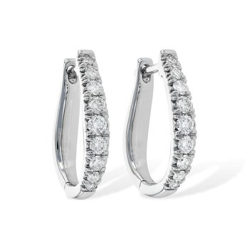 Diamond Oblong Hoop Earrings