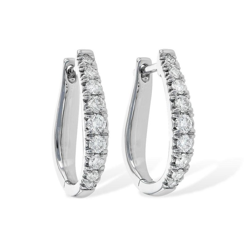 King's Diamond Oblong Hoop Earrings