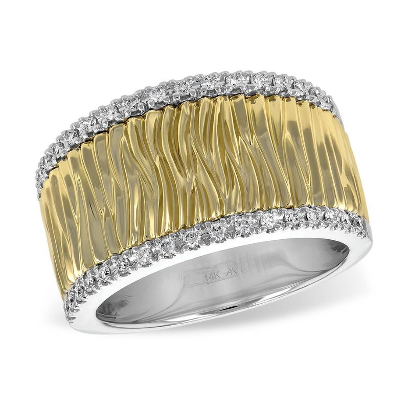 King's Yellow Gold Band with Diamond Edges