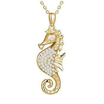 Yel Gold Pave Diamond Seahorse Pendant .33tw