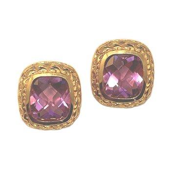 14kt Yel Gold Cushion Cut Amethyst Earrings w/Omega Backs