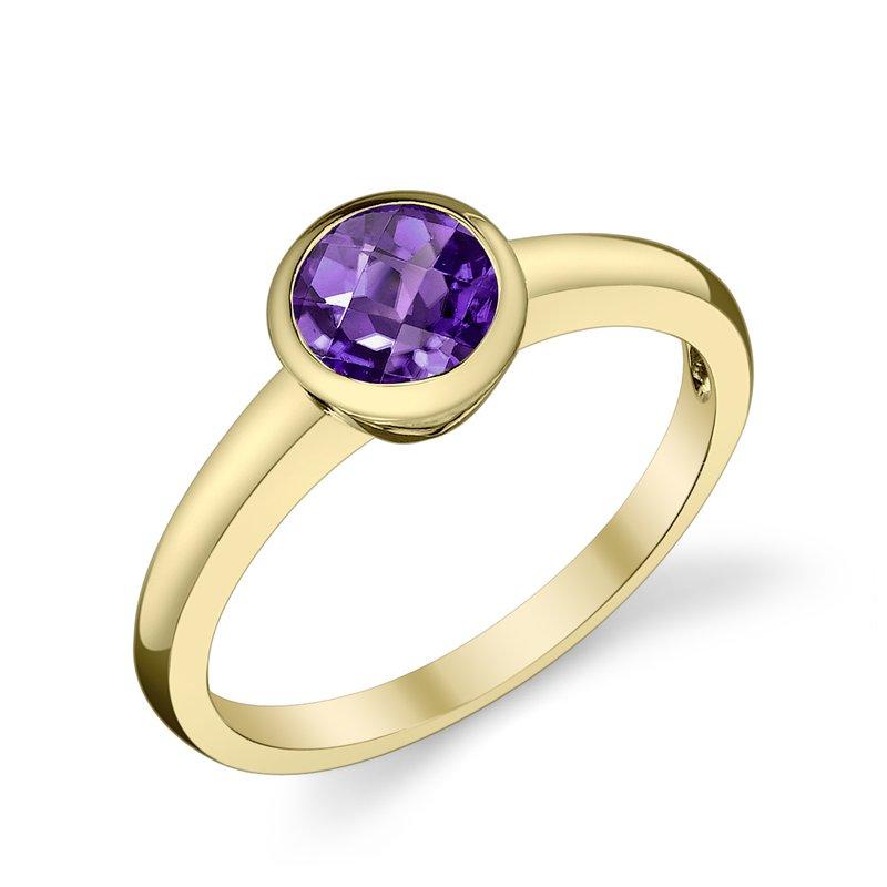 King's Bezel Set Amethyst Ring