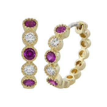 18k Yel Ruby & Diamond Hoop Bezel Set Earrings