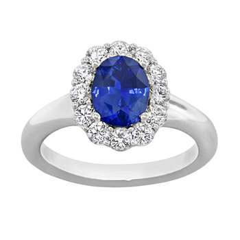 18kt Wh Oval Sapphire and Diamond Halo Ring