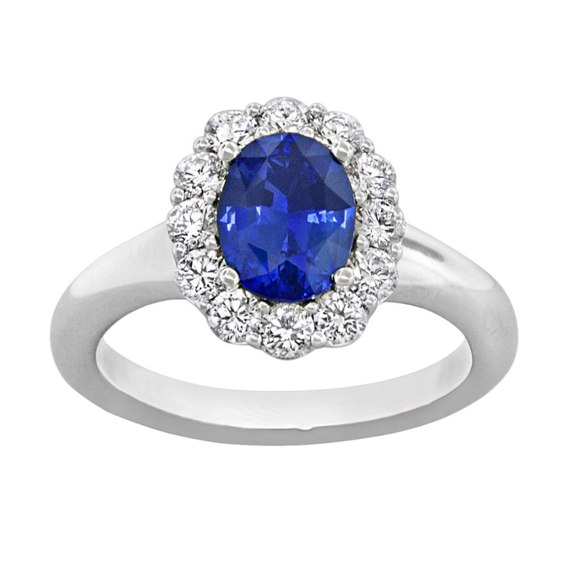 King's 18kt Wh Oval Sapphire and Diamond Halo Ring