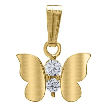 "14kt Yel Butterfly Pendant w/CZ on 15"" Chain"