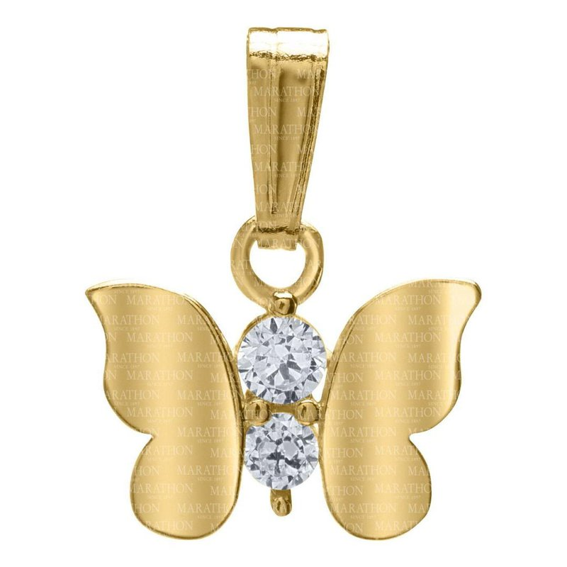"King's Children 14kt Yel Butterfly Pendant w/CZ on 15"" Chain"