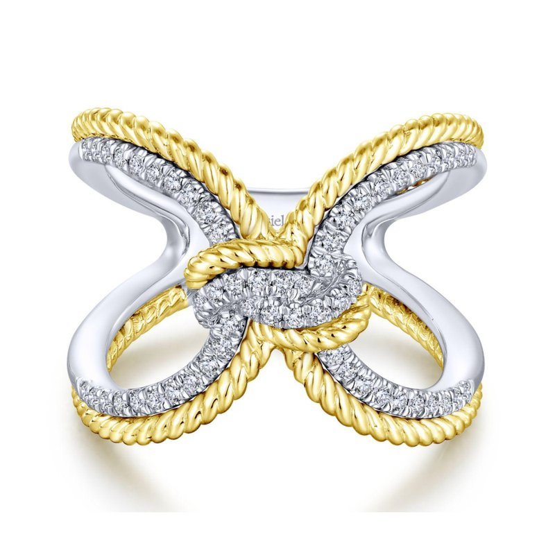 King's Yel & Wh Double Band Diamond Ring