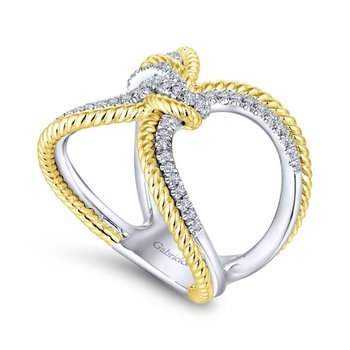Yel & Wh Double Band Diamond Ring