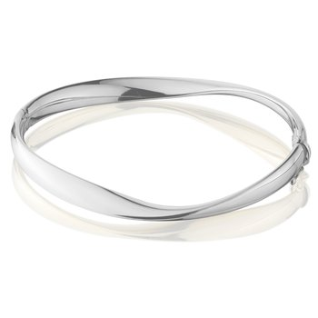 Wh Gold Mobius Shape Bangle Bracelet