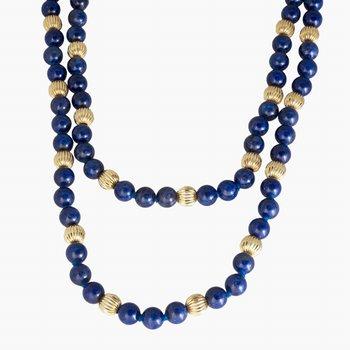 "14kt Yel Corragated Beads w/Lapiz Bead 28"" Necklace"