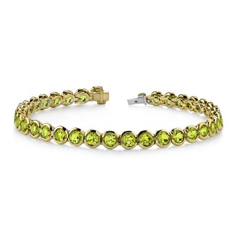 Peridot Bezel Set Bracelet