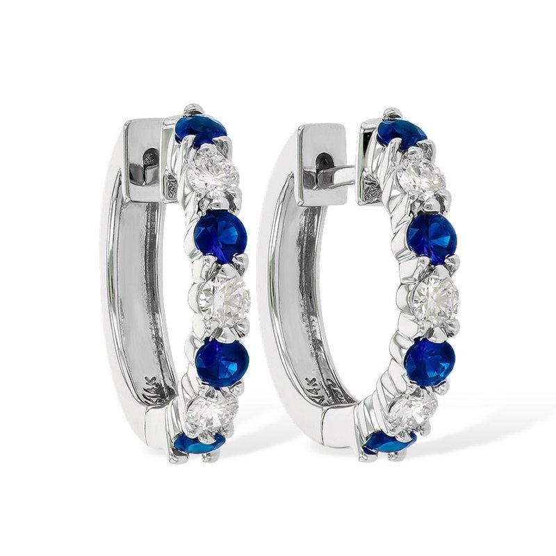 King's Sapphire and Diamond Hoop Earrings