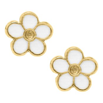 14kt Yel White Flower Earrings