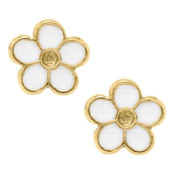14kt Yel White Flower Earrings