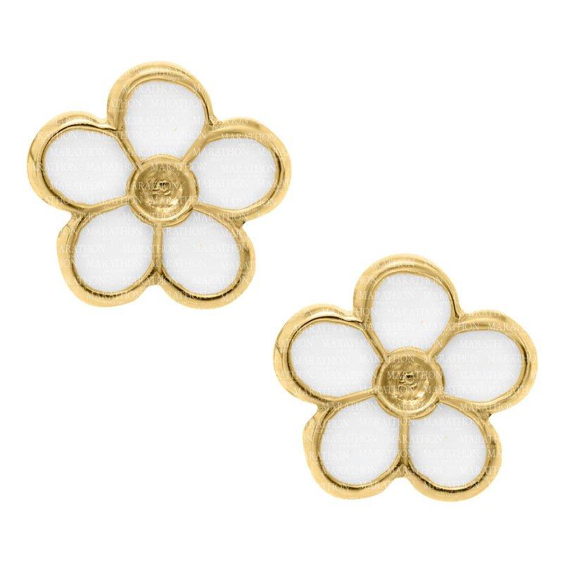 King's Children 14kt Yel White Flower Earrings