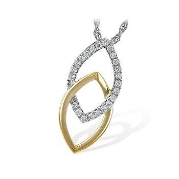 14kt Yel/Wht Marquise Shape Diamond Pendant