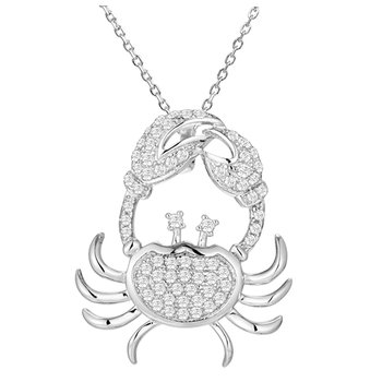 "14kt Wh Diamond Blue Crab Pendant .56tw 18"" Chain"
