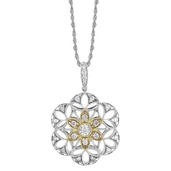 White & Yellow Gold Filigree Diamond Necklace