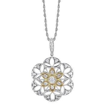 White & Yellow Gold Filigree Diamond Necklace