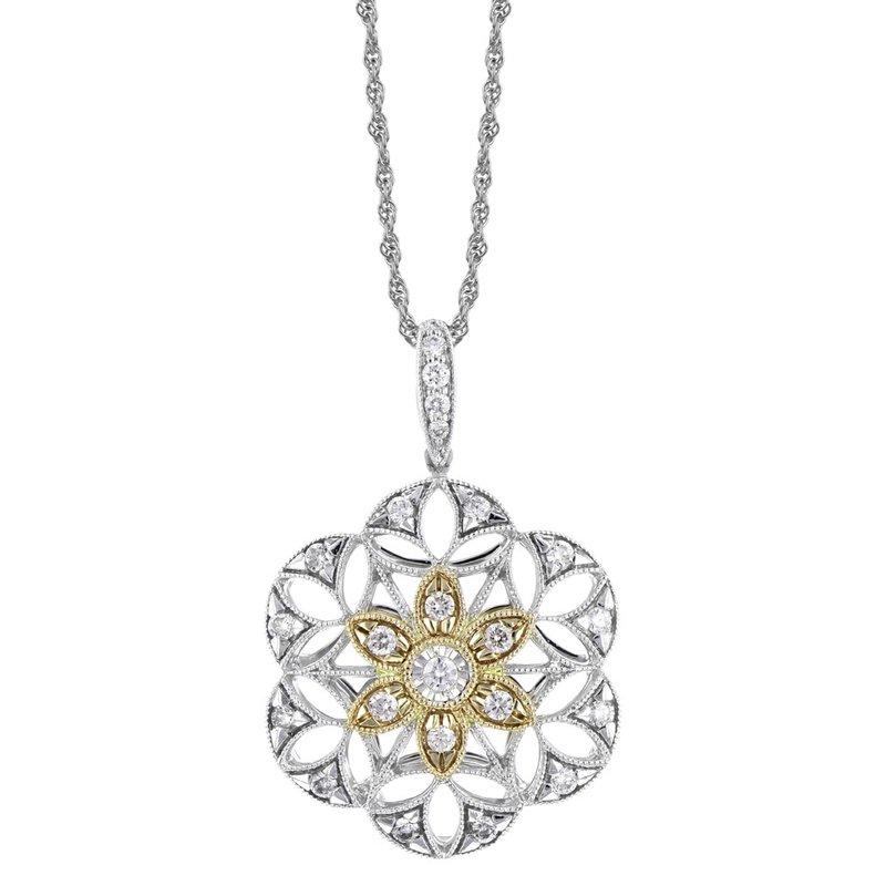 King's White & Yellow Gold Filigree Diamond Necklace