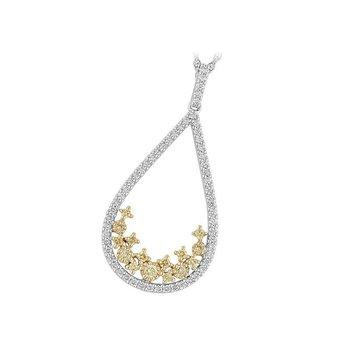 Teardrop Yellow & White Diamond Pendant