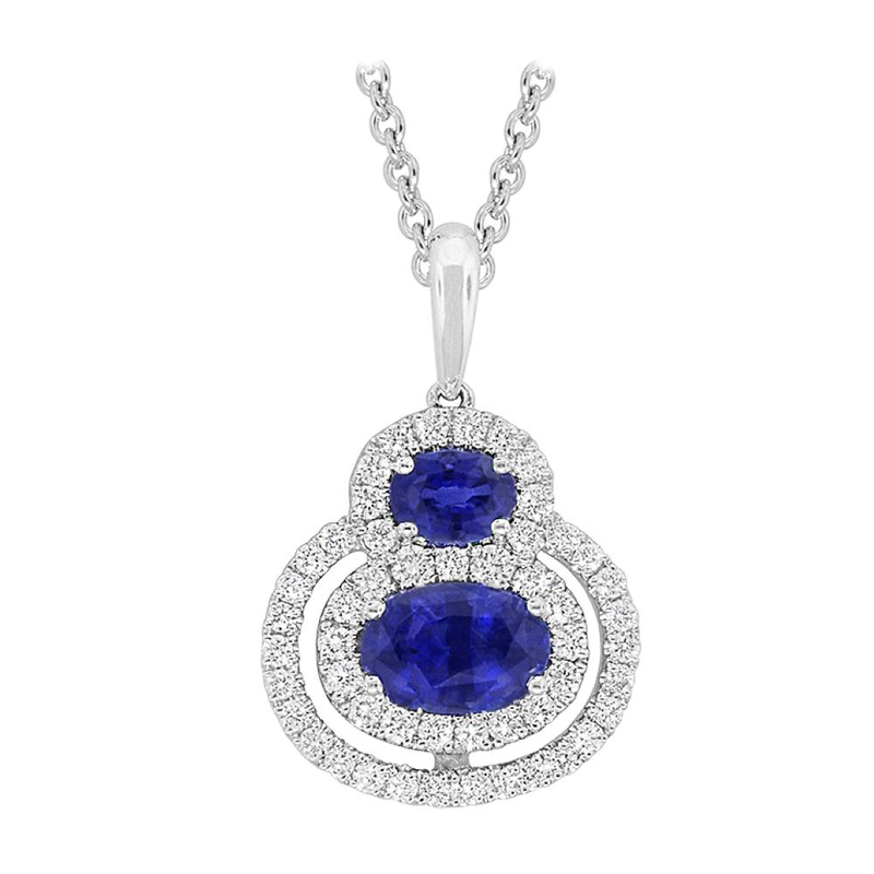 King's 18kt Wh Sapphire and Diamond Pendant