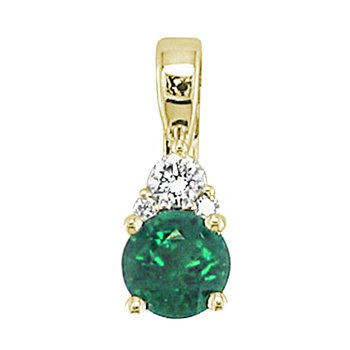 "Emerald and Diamond Pendant 14kt Yel18"" Chain"